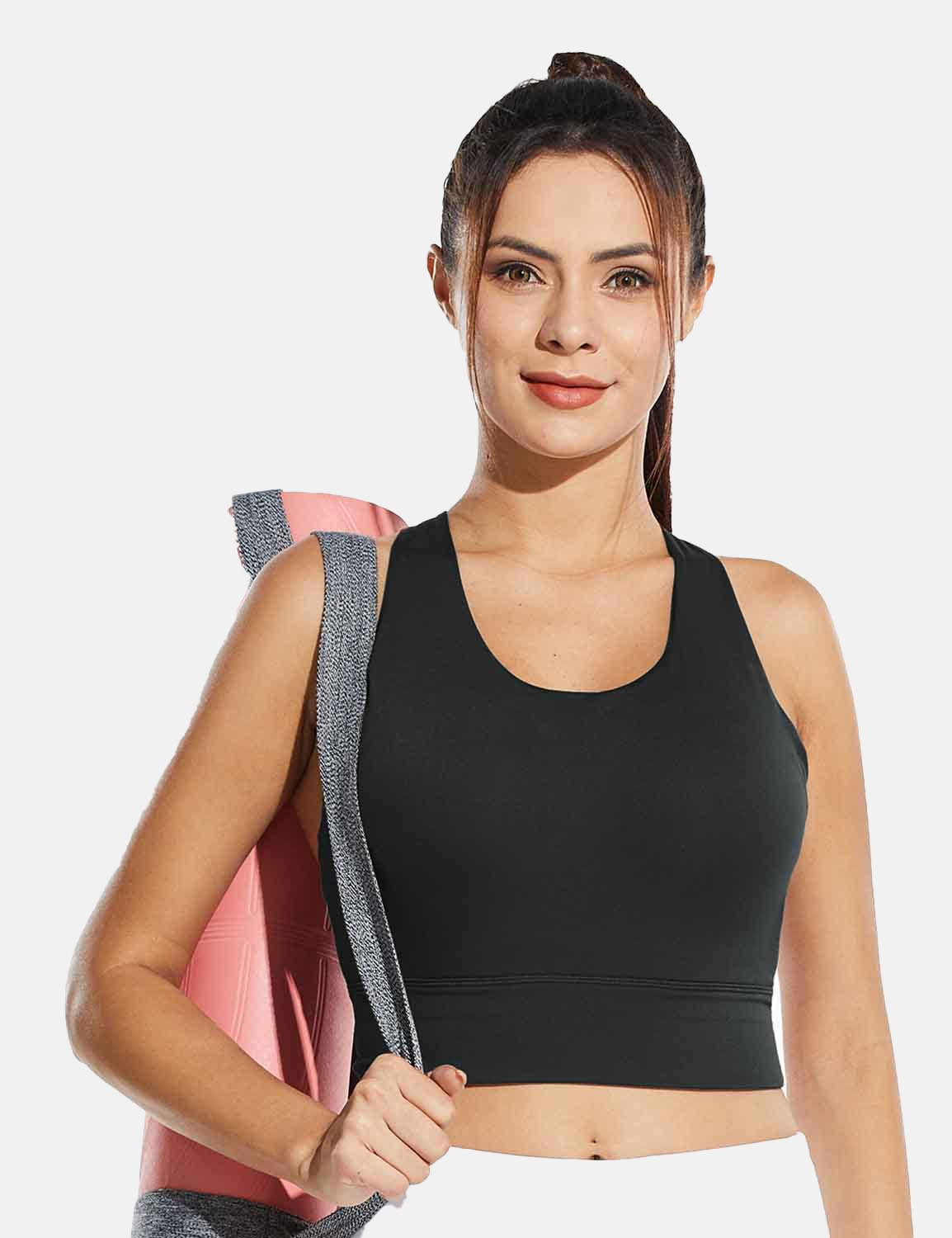 Baleaf Womens Medium Support Padded Strappy Sports Bra Black Front