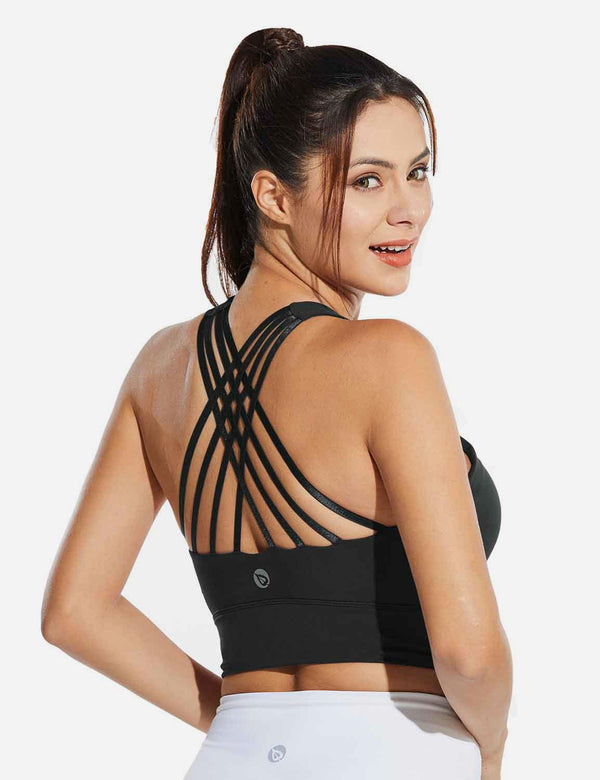 Baleaf Womens Medium Support Padded Strappy Sports Bra Black Back