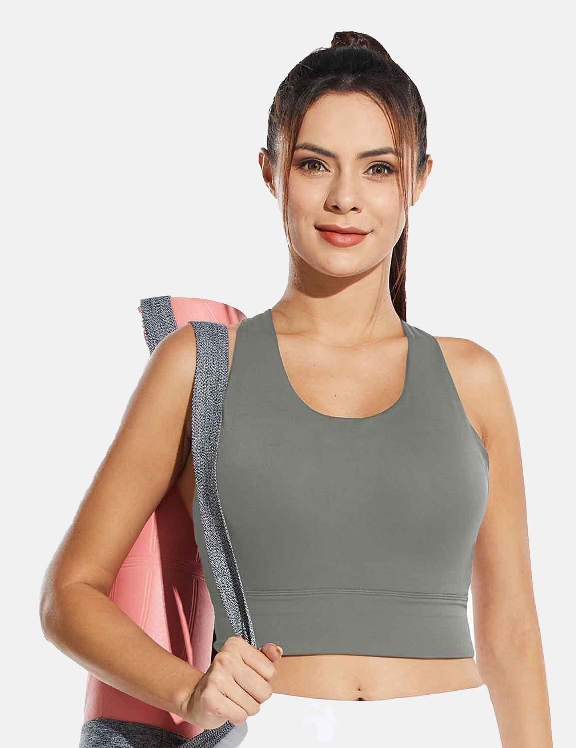 Baleaf Womens Medium Support Padded Strappy Sports Bra Gray Front