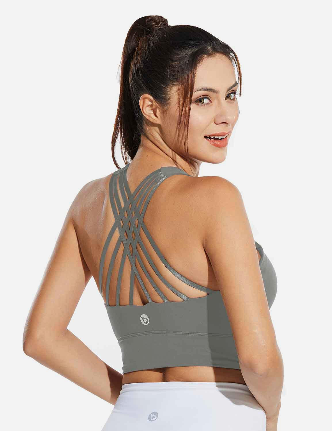 Baleaf Womens Medium Support Padded Strappy Sports Bra Gray Back