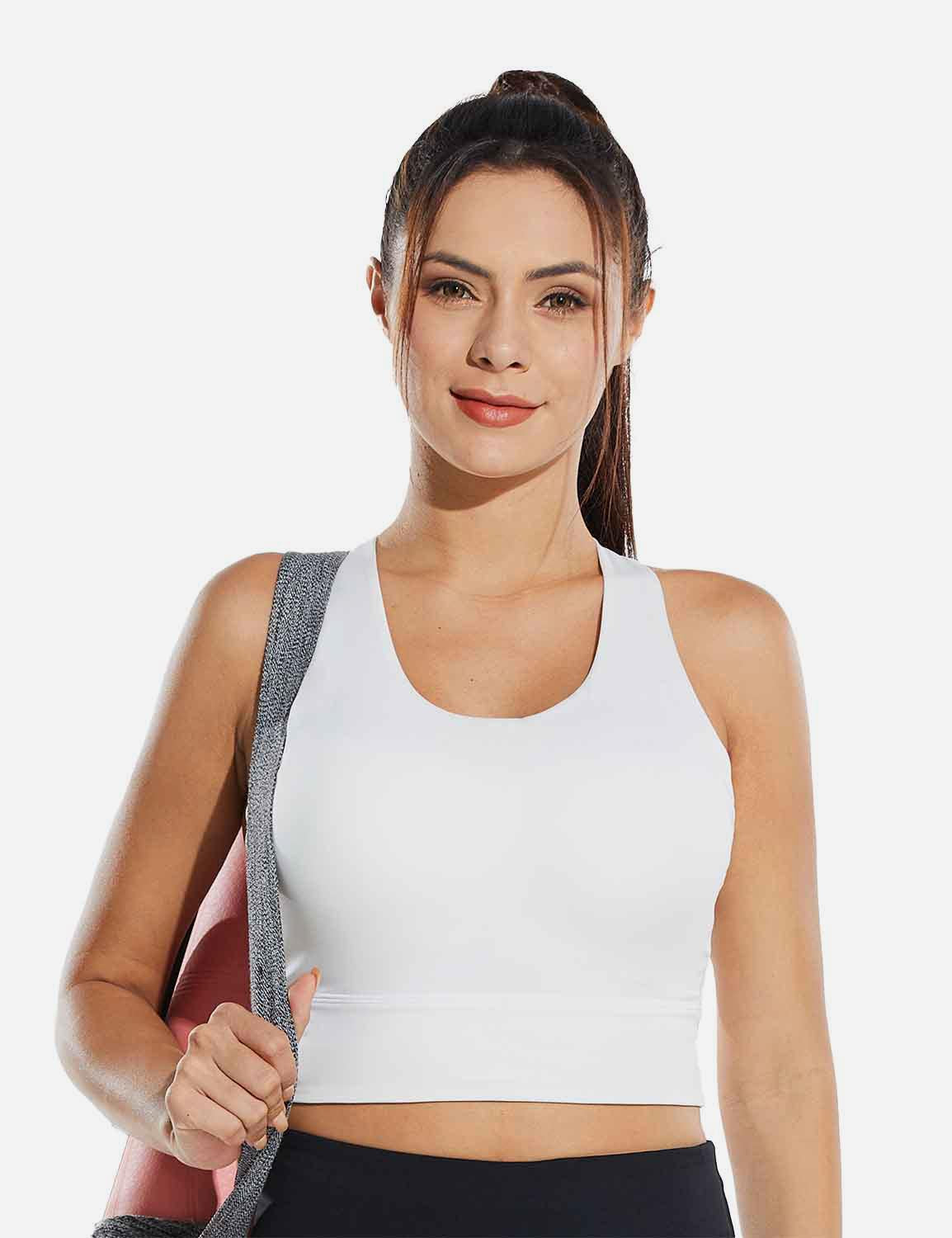 Baleaf Womens Medium Support Padded Strappy Sports Bra White Front