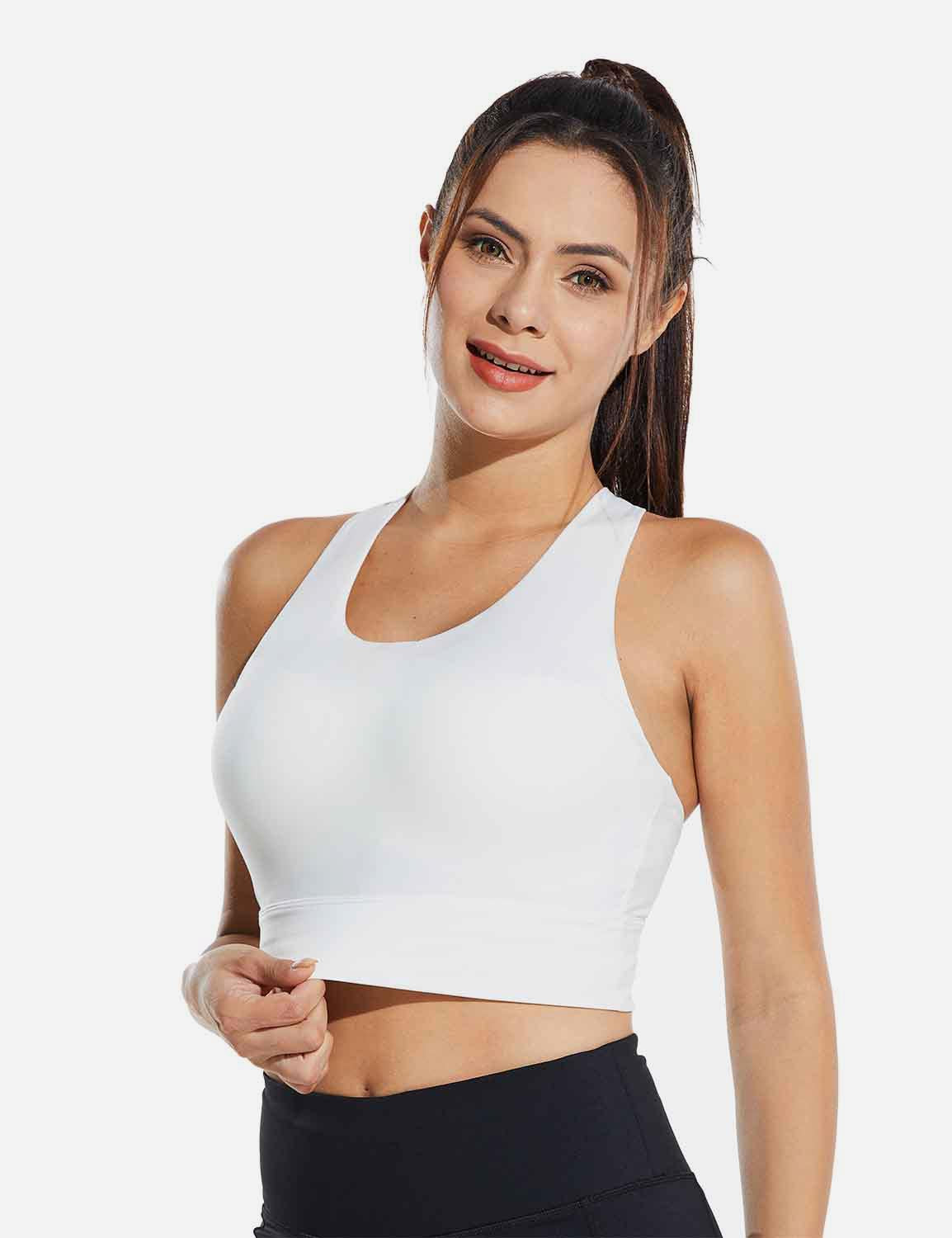 Baleaf Womens Medium Support Padded Strappy Sports Bra White Side