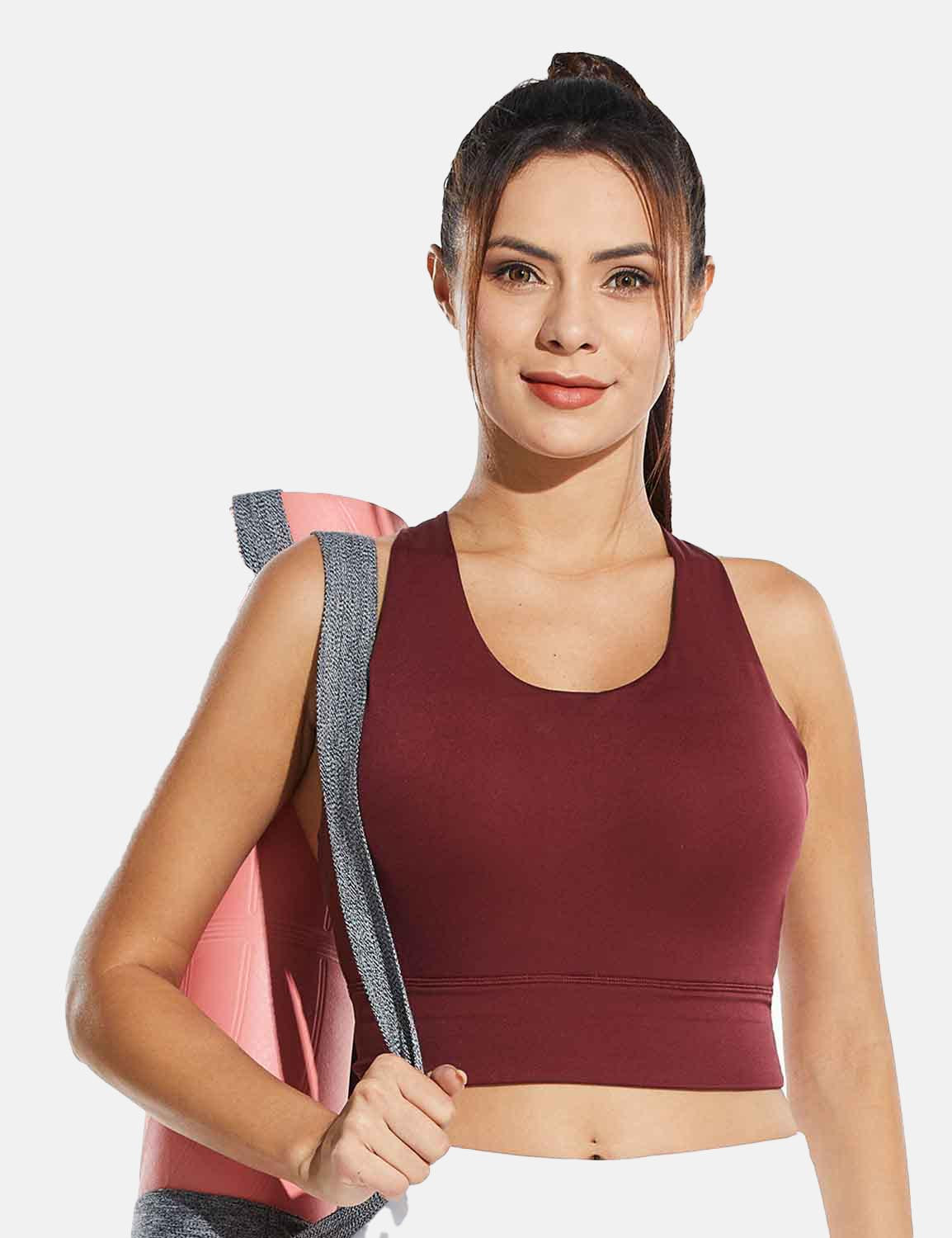 Baleaf Womens Medium Support Padded Strappy Sports Bra Red Front