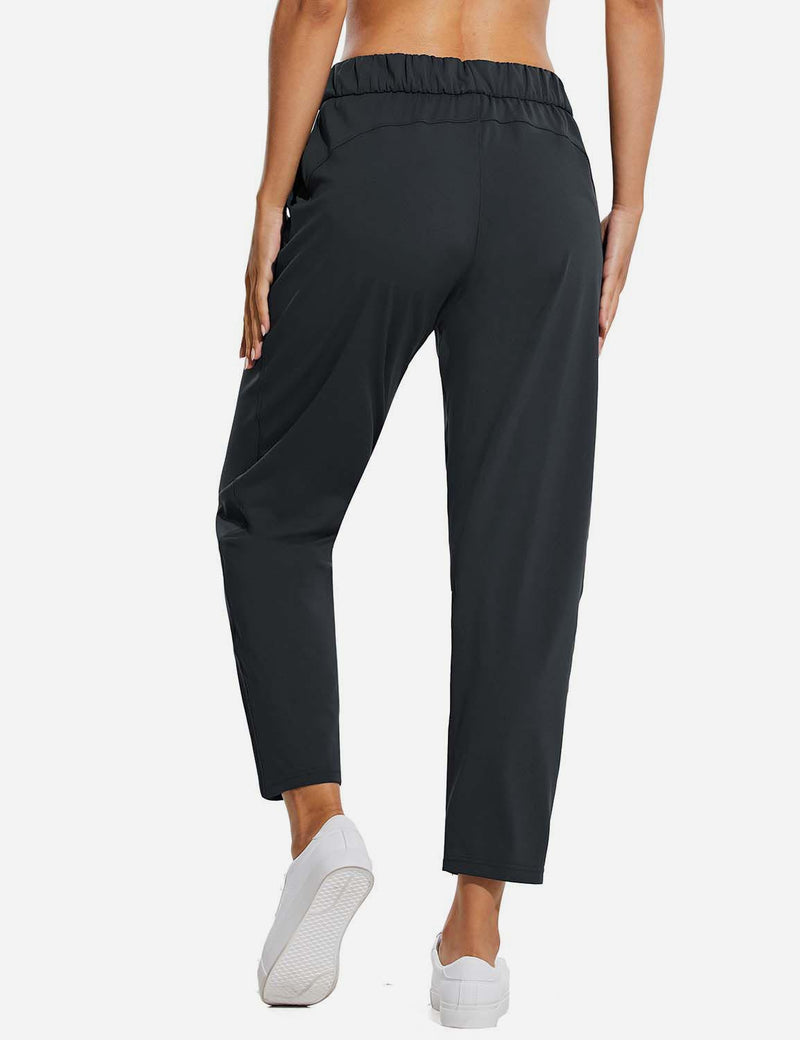 Baleaf Women Tapered Pocketed Ankle Length Causal Pants Black Back
