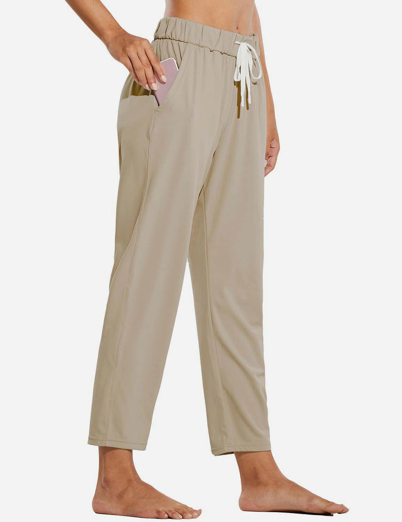 Baleaf Women Tapered Pocketed Ankle Length Causal Pants Khaki Side