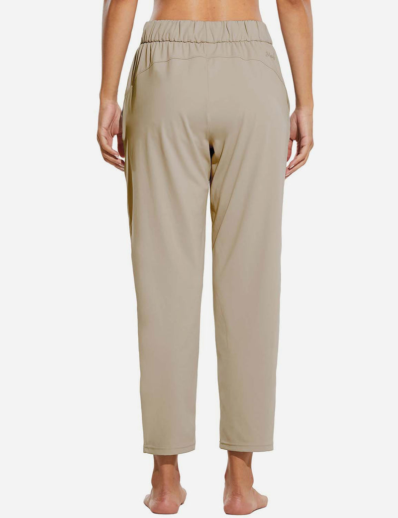 Baleaf Women Tapered Pocketed Ankle Length Causal Pants Khaki Back