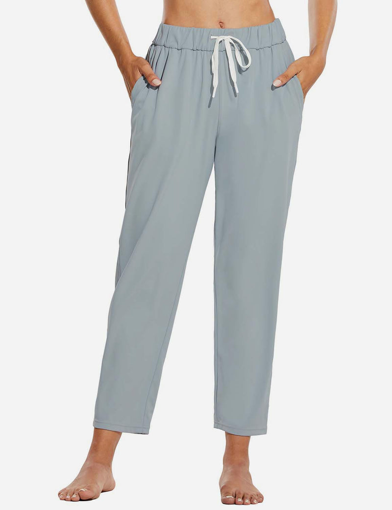 Baleaf Women Tapered Pocketed Ankle Length Causal Pants Light Gray Front