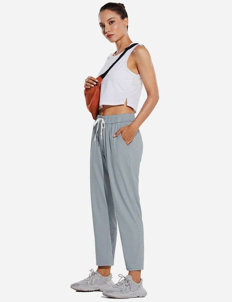 Baleaf Women Tapered Pocketed Ankle Length Causal Pants Light Gray Full