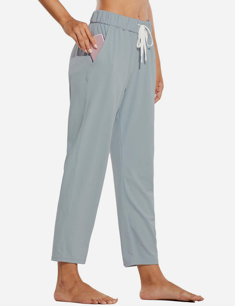 Baleaf Women Tapered Pocketed Ankle Length Causal Pants Light Gray Side