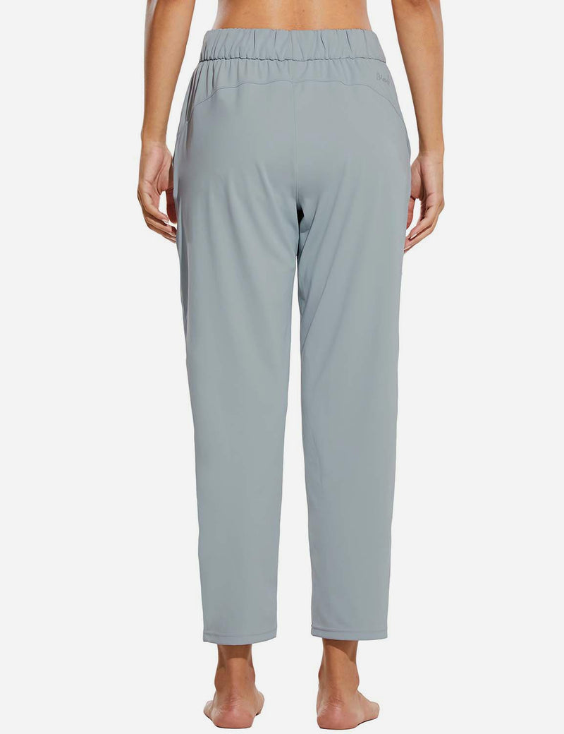 Baleaf Women Tapered Pocketed Ankle Length Causal Pants Light Gray Back