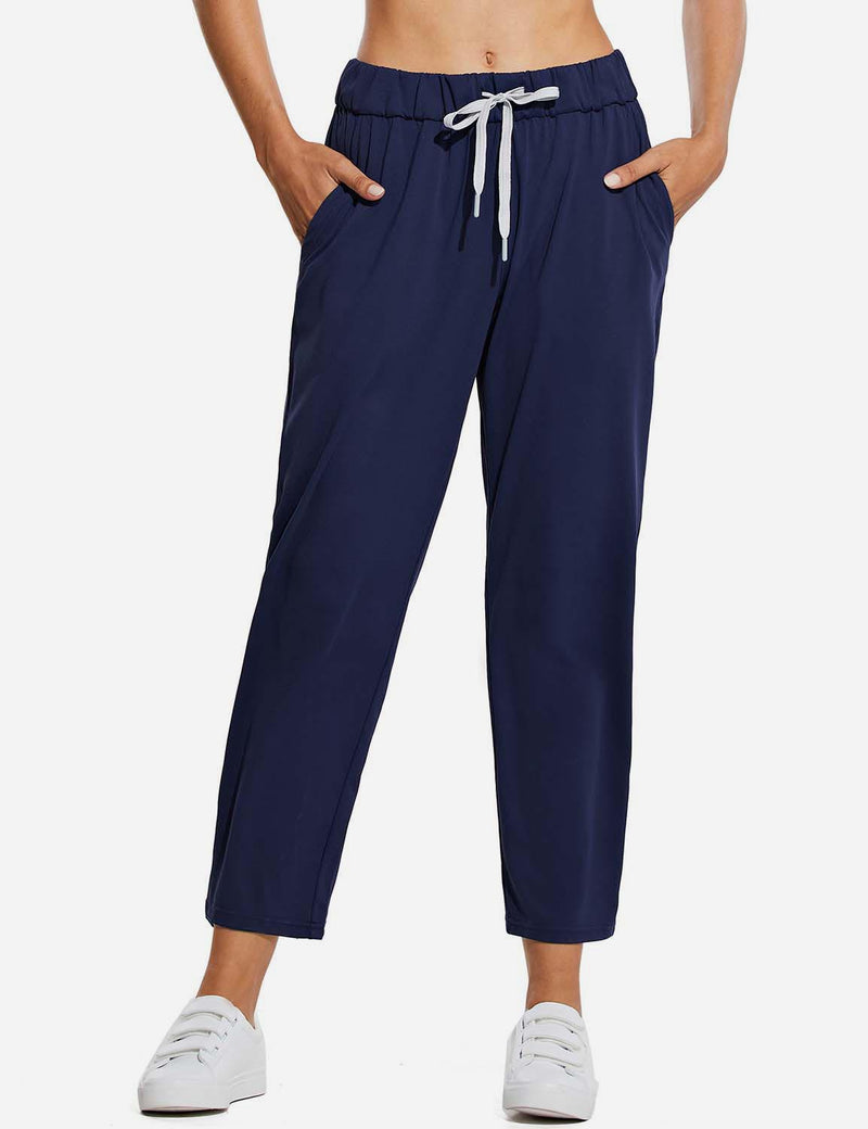 Baleaf WomenTapered Pocketed Ankle Length Causal Pants Navy Front
