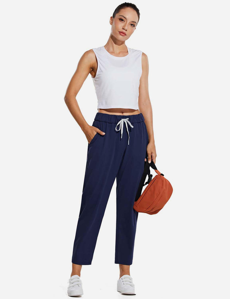 Baleaf WomenTapered Pocketed Ankle Length Causal Pants Navy Full