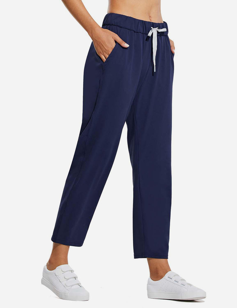 Baleaf Women Tapered Pocketed Ankle Length Causal Pants Navy Side