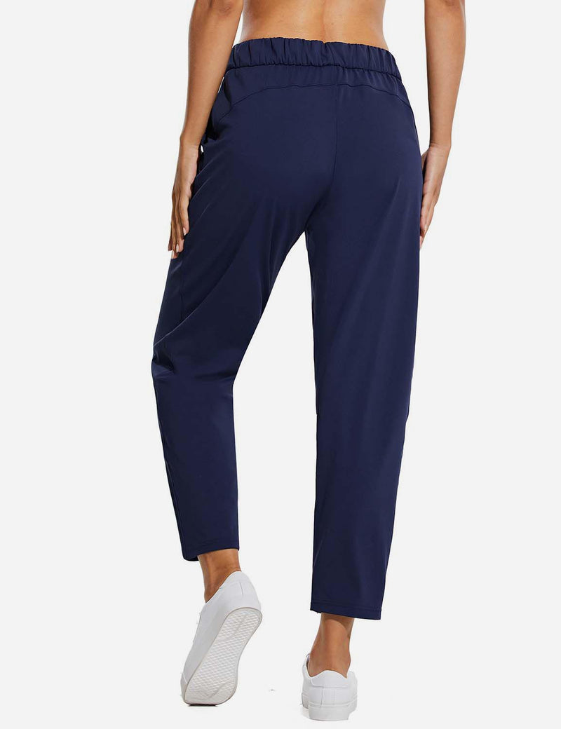 Baleaf WomenTapered Pocketed Ankle Length Causal Pants Navy Back