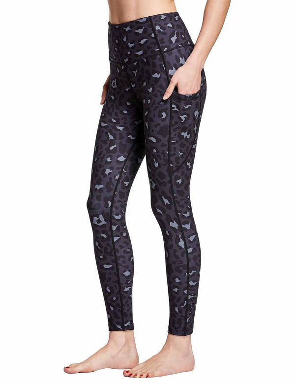 Baleaf Womens High Rise Hidden Pocketed Yoga Leggings BlueLeopard side