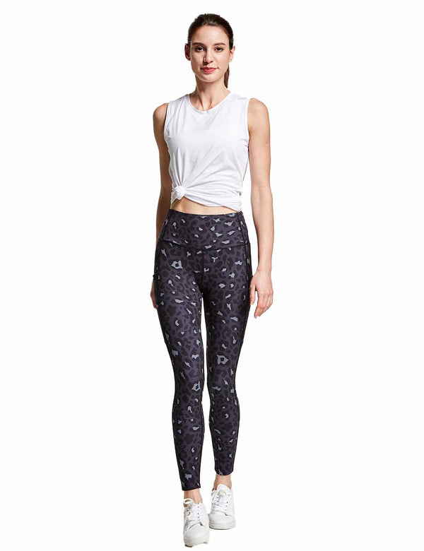 Baleaf Womens High Rise Hidden Pocketed Yoga Leggings BlueLeopard full