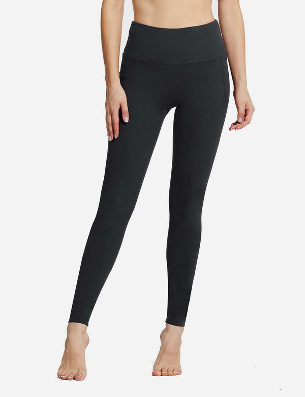 "Baleaf Womens 28"" High Rise Double Brushed Side Pocketed Workout Leggings Black Front"