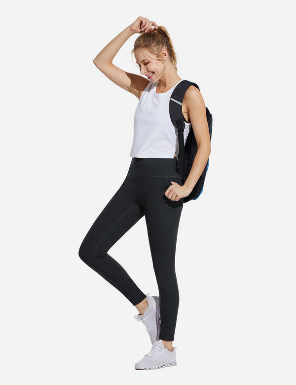 "Baleaf Womens 28"" High Rise Double Brushed Side Pocketed Workout Leggings Black Side"