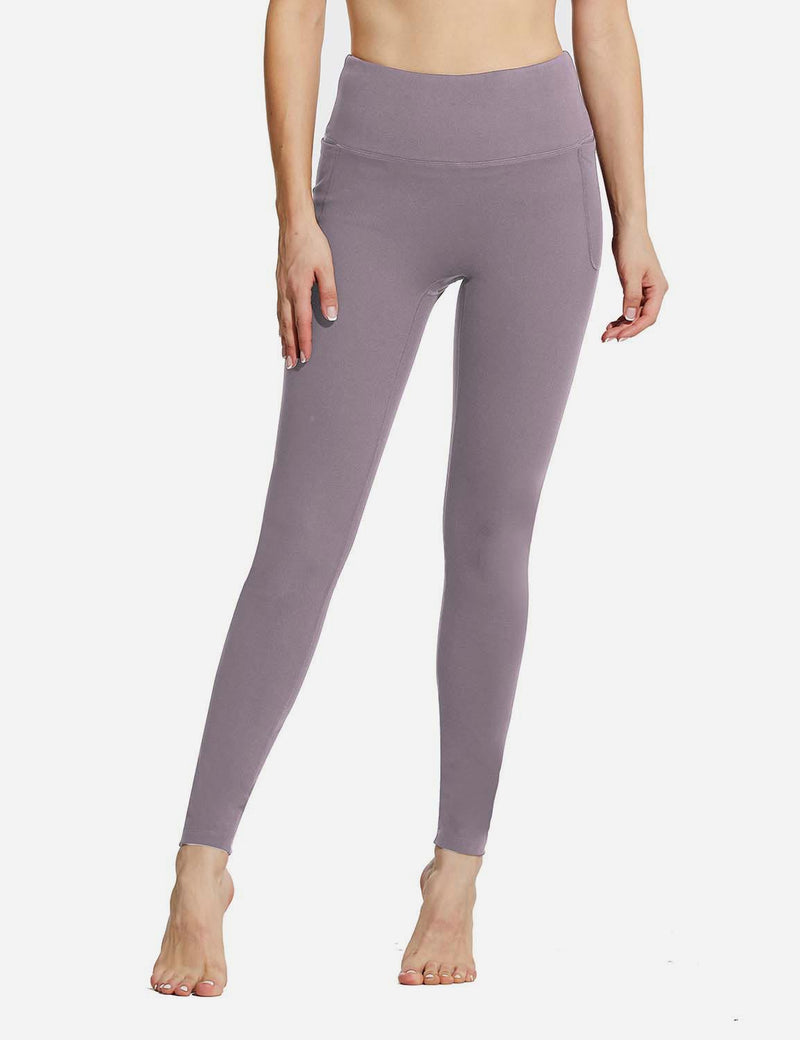 "Baleaf Womens 28"" High Rise Double Brushed Side Pocketed Workout Leggings Purple Front"