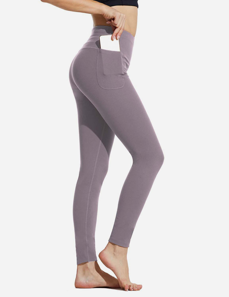 "Baleaf Womens 28"" High Rise Double Brushed Side Pocketed Workout Leggings Purple Side"