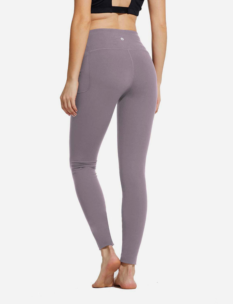 "Baleaf Womens 28"" High Rise Double Brushed Side Pocketed Workout Leggings Purple Back"
