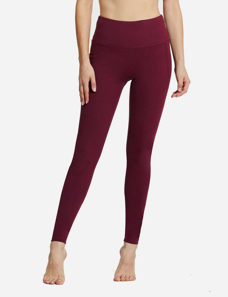 "Baleaf Womens 28"" High Rise Double Brushed Side Pocketed Workout Leggings Red Front"