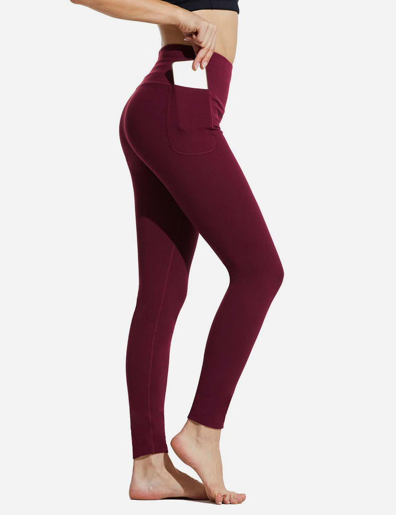 "Baleaf Womens 28"" High Rise Double Brushed Side Pocketed Workout Leggings Red Side"