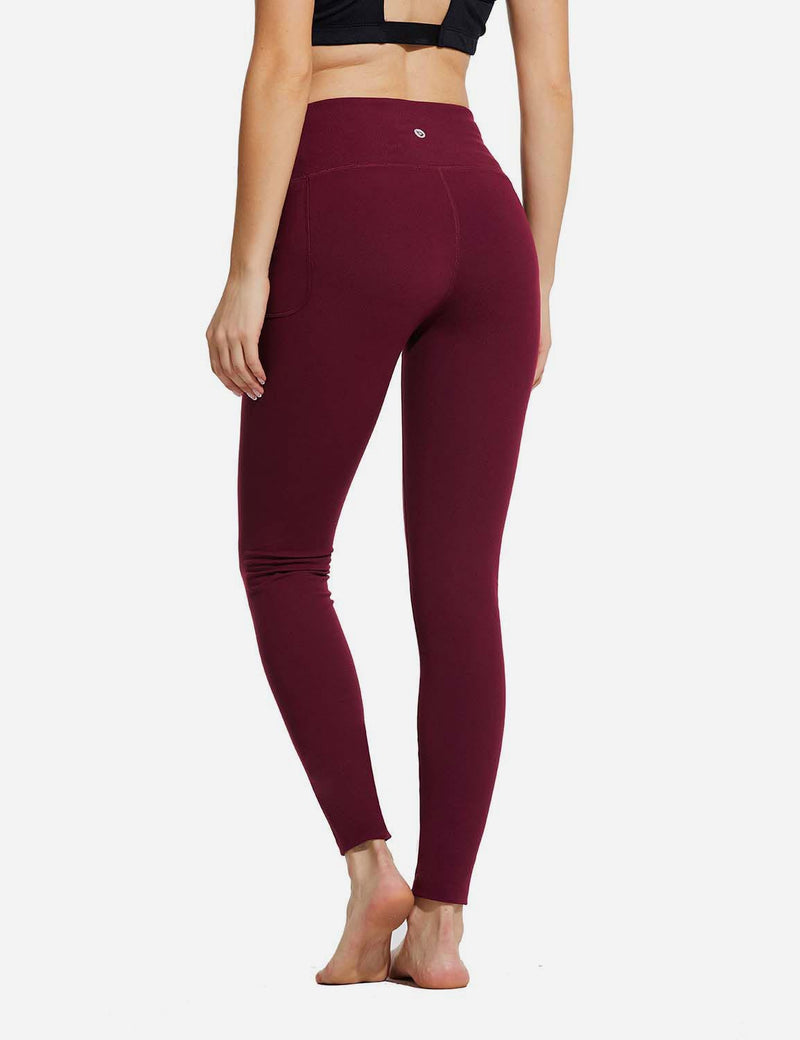 "Baleaf Womens 28"" High Rise Double Brushed Side Pocketed Workout Leggings Red Back"
