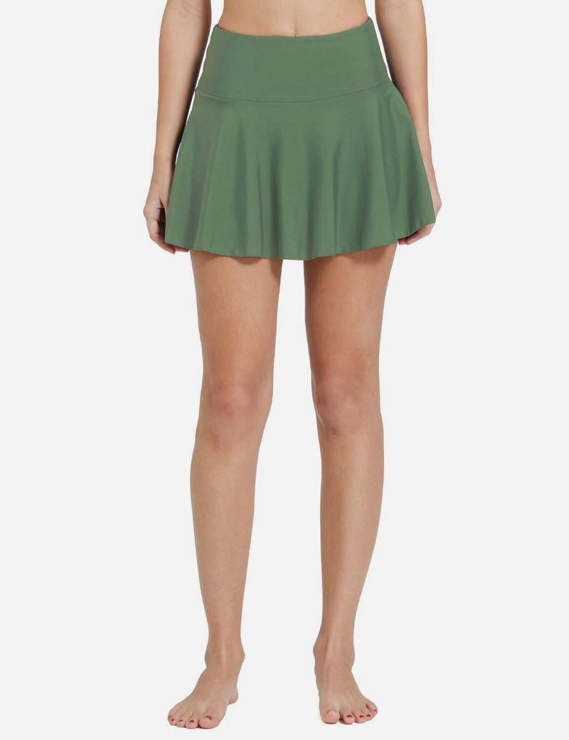 Baleaf Womens UPF 50+ 2-in-1 High Waisted Pleasted Swim Skort Army Green Front