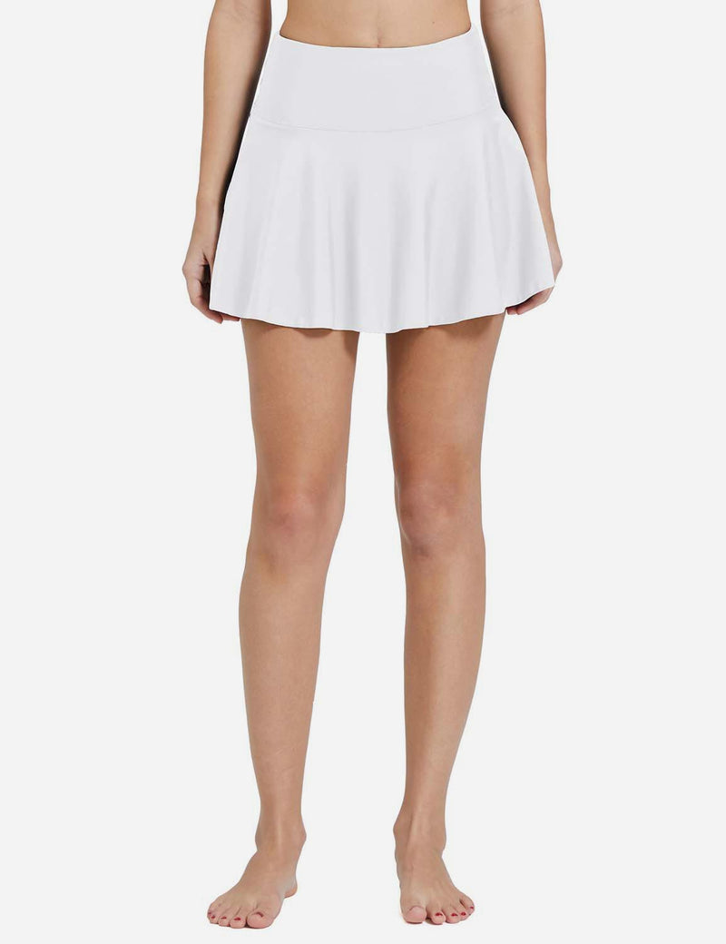 Baleaf Womens UPF 50+ 2-in-1 High Waisted Pleasted Swim Skort White Front