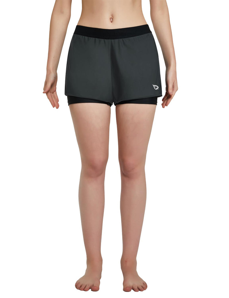 Baleaf Womens UPF 50+ Sun Protective 2-in-1 Mid Rise Swim & Board Shorts Gray Black Front