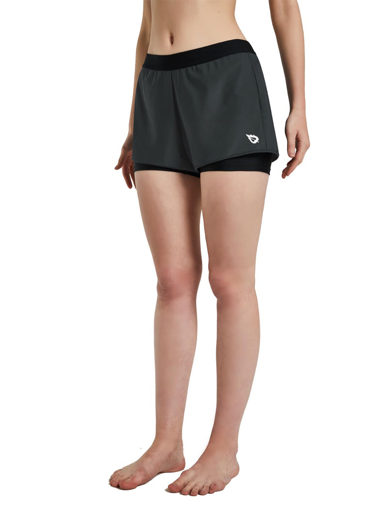Baleaf Womens UPF 50+ Sun Protective 2-in-1 Mid Rise Swim & Board Shorts Gray Black Side