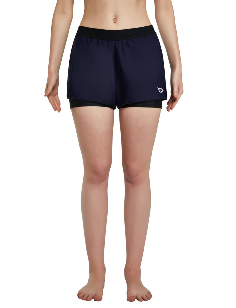 Baleaf Womens UPF 50+ Sun Protective 2-in-1 Mid Rise Swim & Board Shorts Navy Black Front
