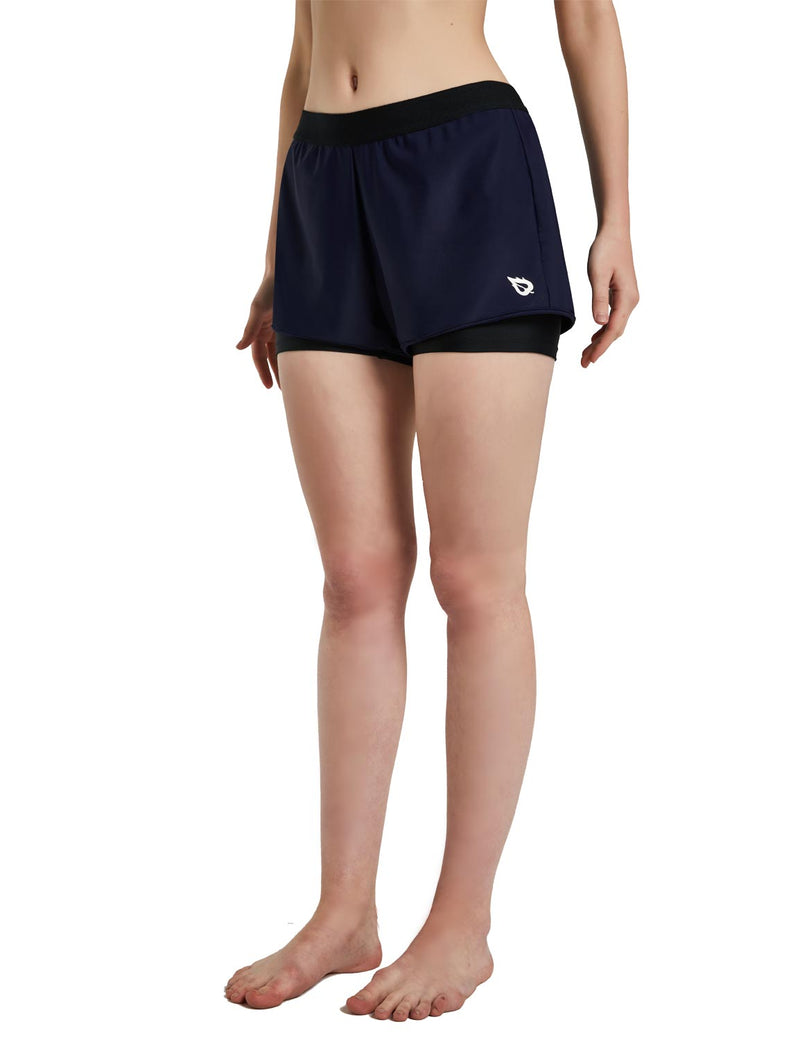 Baleaf Womens UPF 50+ Sun Protective 2-in-1 Mid Rise Swim & Board Shorts Navy Black Side