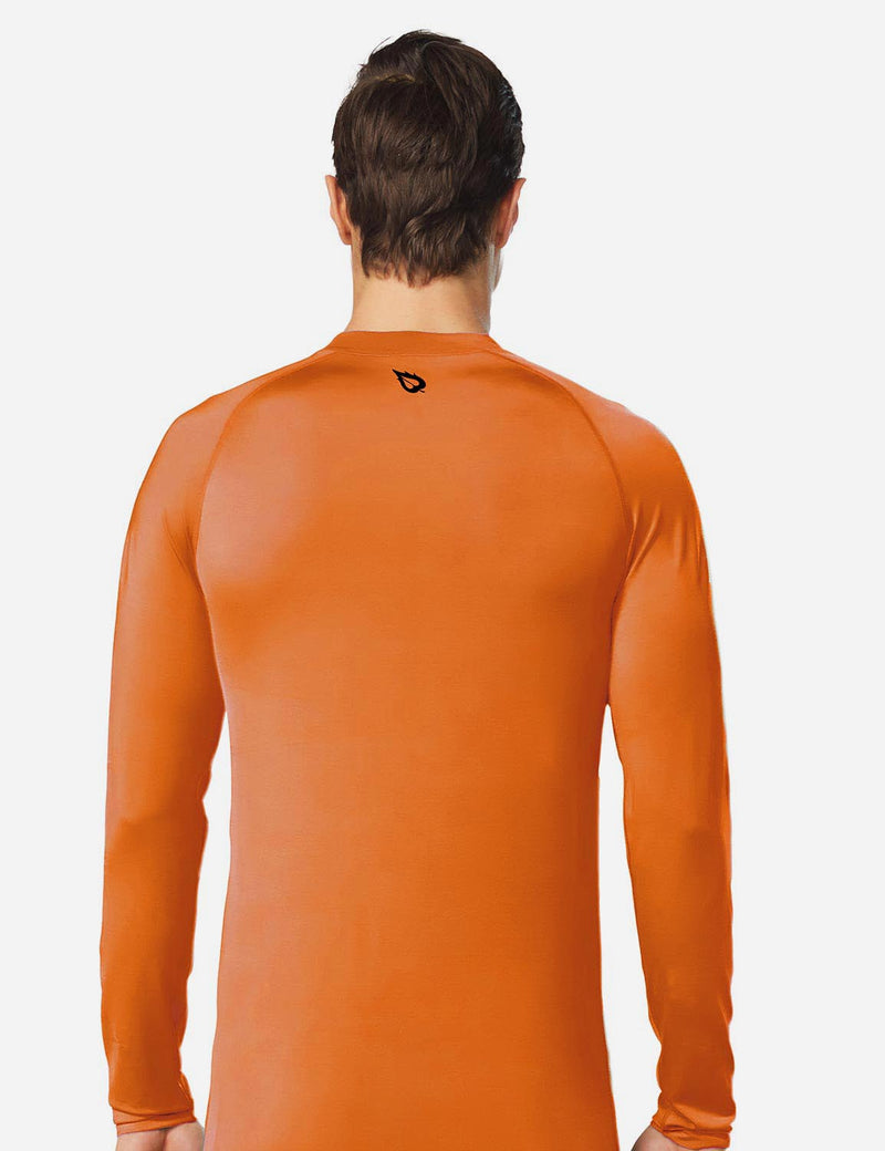 Baleaf Mens UPF50+ Compression Long Sleeved Surfer Shirt Orange Details