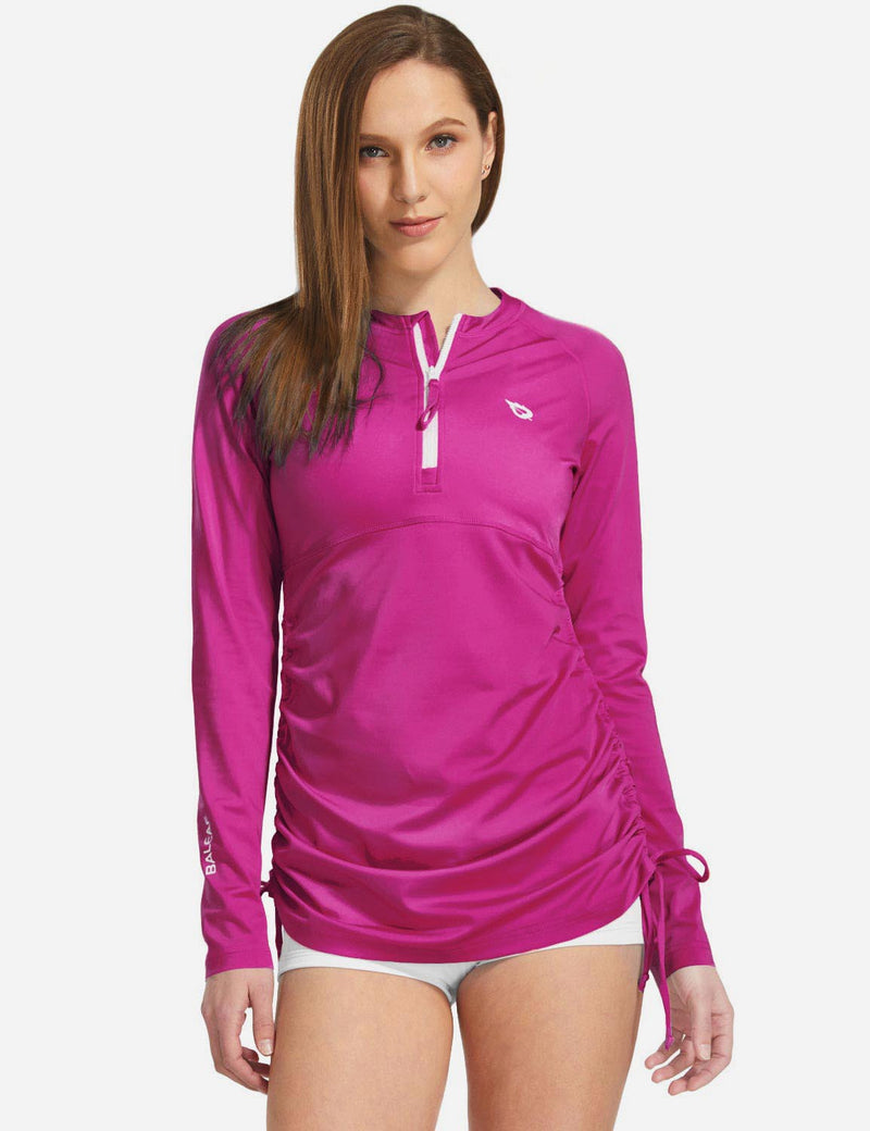 Baleaf Women UPF 50+ Bodyfit Adjustable Long Sleeve Shirts fuchsia back