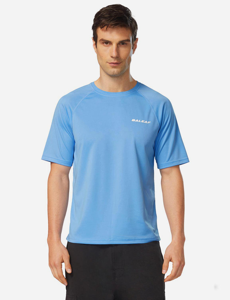 Baleaf Men UPF 50+ Lightweight & Quick-Dry Polyester T-shirt lake blue front