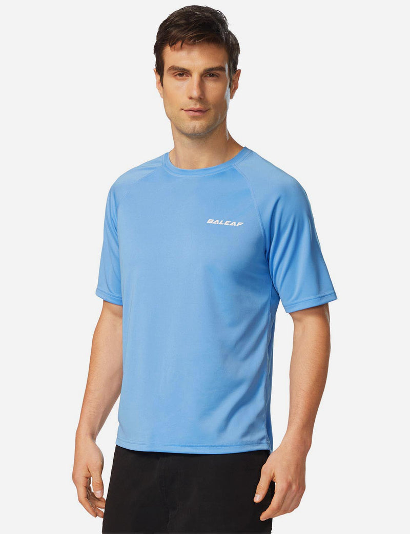 Baleaf Men UPF 50+ Lightweight & Quick-Dry Polyester T-shirt lake blue side