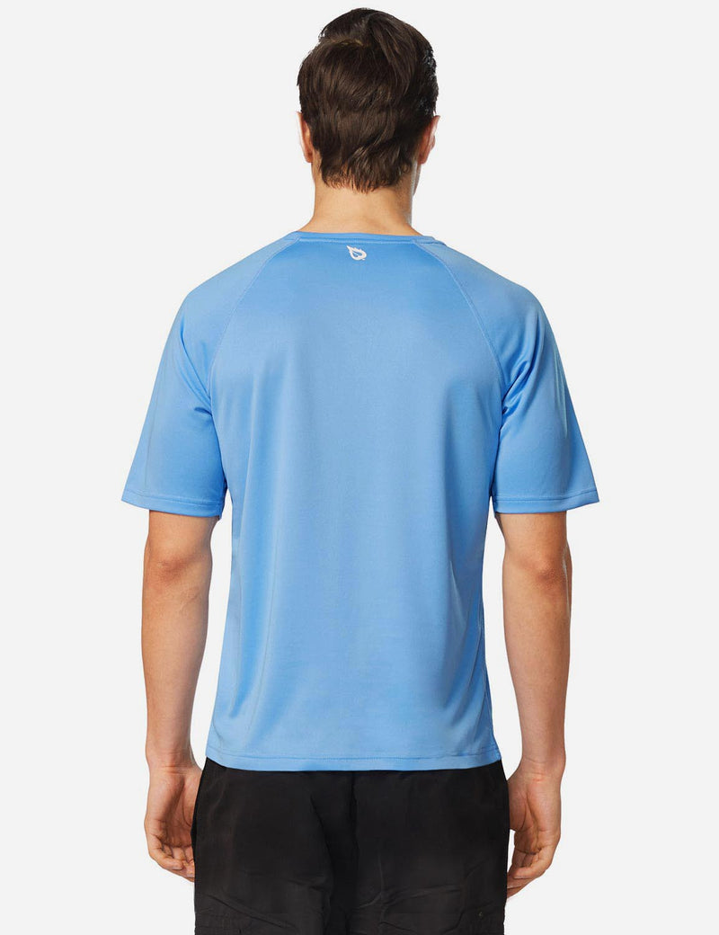 Baleaf Men UPF 50+ Lightweight & Quick-Dry Polyester T-shirt lake blue back