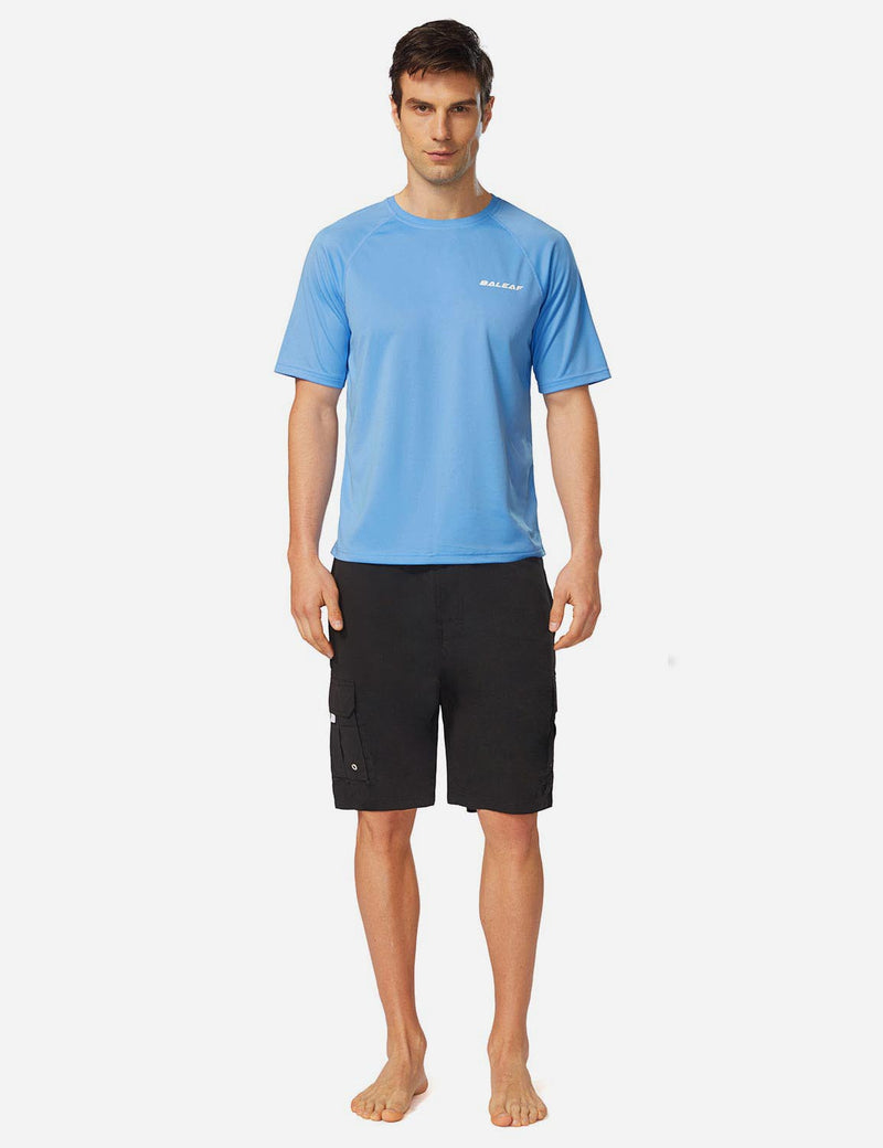 Baleaf Men UPF 50+ Lightweight & Quick-Dry Polyester T-shirt lake blue full