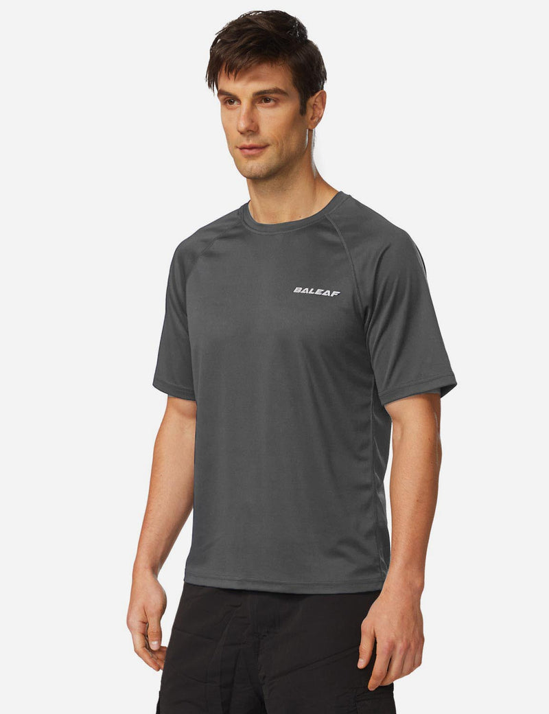 Baleaf Men UPF 50+ Lightweight & Quick-Dry Polyester T-shirt dark grey side