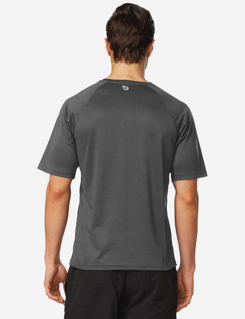 Baleaf Men UPF 50+ Lightweight & Quick-Dry Polyester T-shirt dark grey back