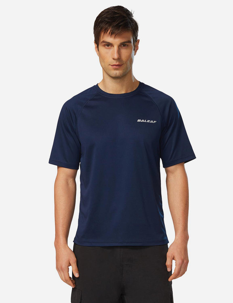 Baleaf Men UPF 50+ Lightweight & Quick-Dry Polyester T-shirt navy front