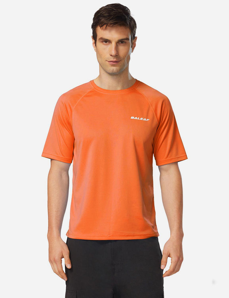 Baleaf Men UPF 50+ Lightweight & Quick-Dry Polyester T-shirt fluorescent orange front