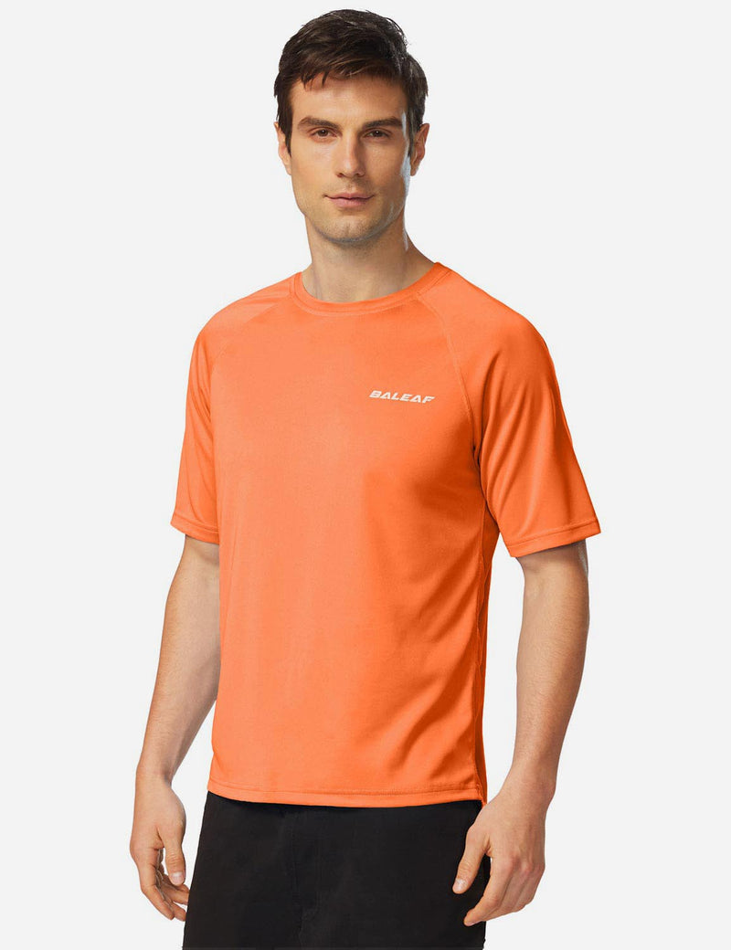 Baleaf Men UPF 50+ Lightweight & Quick-Dry Polyester T-shirt fluorescent orange side