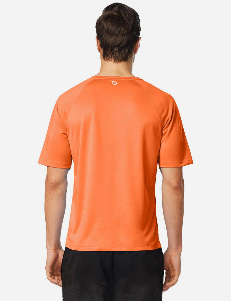 Baleaf Men UPF 50+ Lightweight & Quick-Dry Polyester T-shirt fluorescent orange back
