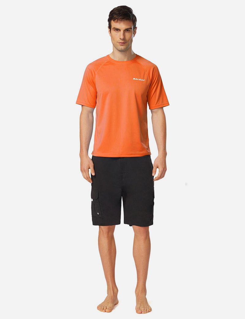 Baleaf Men UPF 50+ Lightweight & Quick-Dry Polyester T-shirt fluorescent orange full