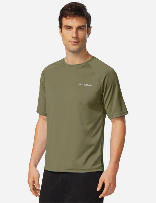 Baleaf Mens UPF50+ Raglan Quick-Dry Boardshort Connector Loop Shirt Slate Green Side