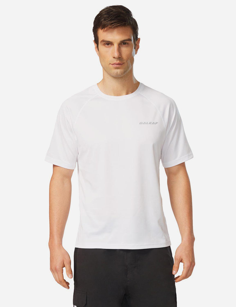 Baleaf Men UPF 50+ Lightweight & Quick-Dry Polyester T-shirt white front