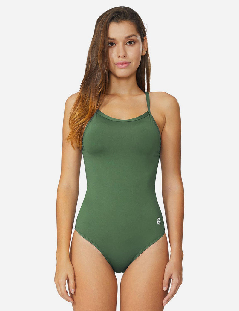 Baleaf Womens Narrow V-Back Polyester Suit Army Green side